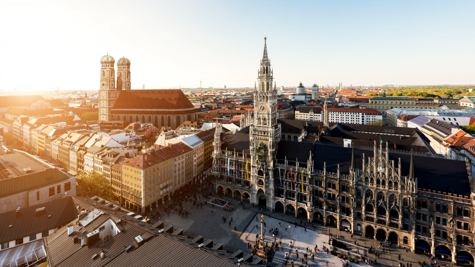 Marienplatz aerial views in Munich