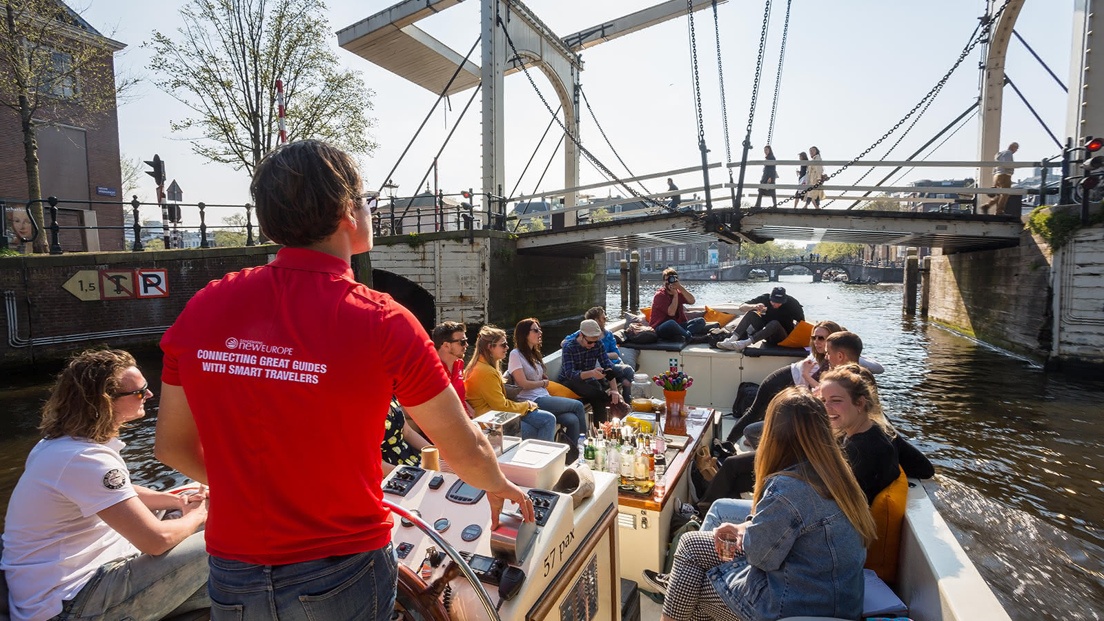 The Amsterdam Boat Tour going under the Magere Brug
