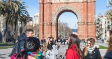 looking at the arc de triomf during the barcelona bike tour