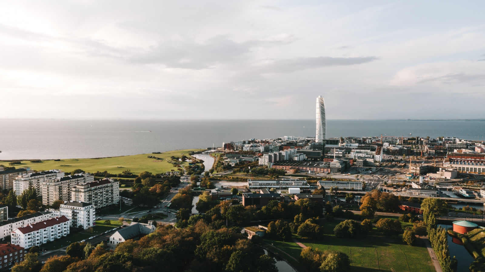 malmo aerial views with the turning torso
