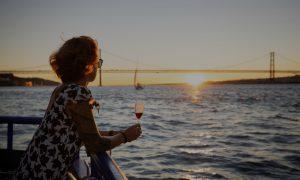 Lisboat Passanger Enjoying The Sunset